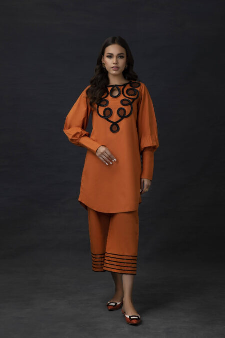 Orange Cotton Tunic with Ribbon Embroidery and Culotte Pants