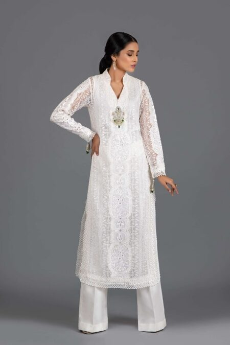 White Long Embroidered Organza Tunic with Flared Trouser