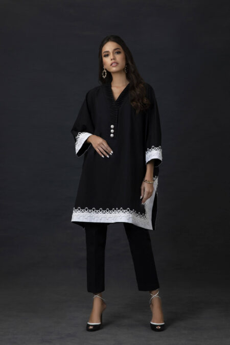 Black and White Box Tunic with Lace Appliué