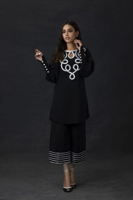 Black Cotton Tunic with Ribbon Embroidery and Culotte Pants