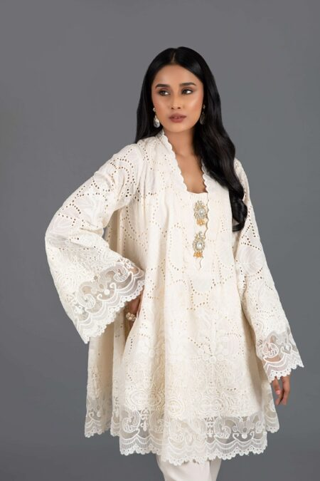 Cream Chicken Bias Cut Tunic with Cropped Trouser