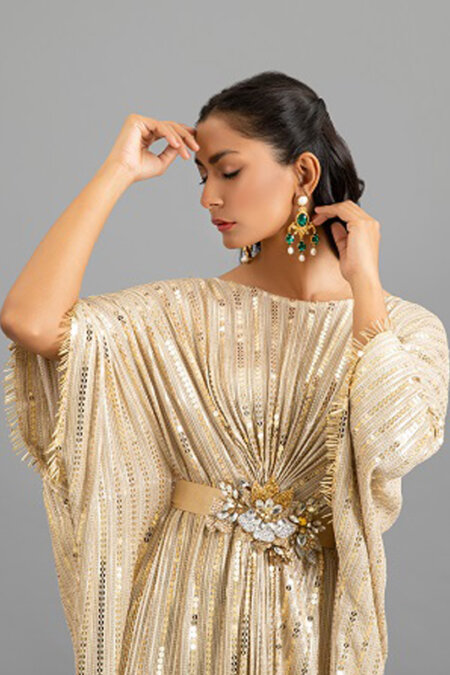 Gold Sequin Kaftan with Three Dimensional Crystal Belt