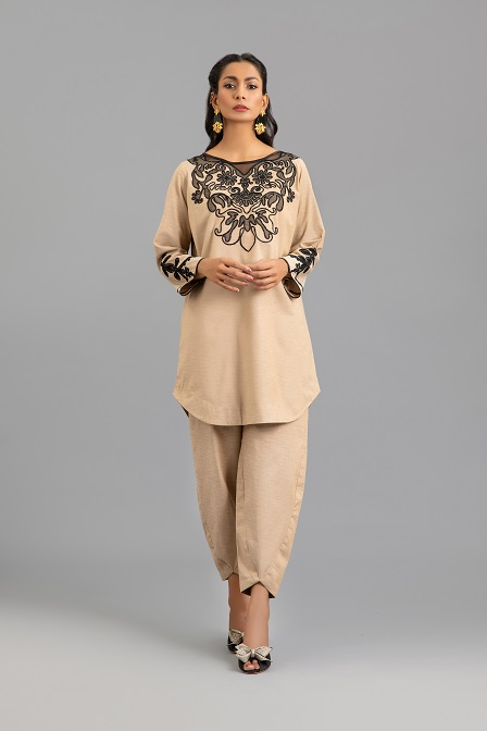 Beige Brown Cotton Tunic with Ribbon Embroidery and Trouser