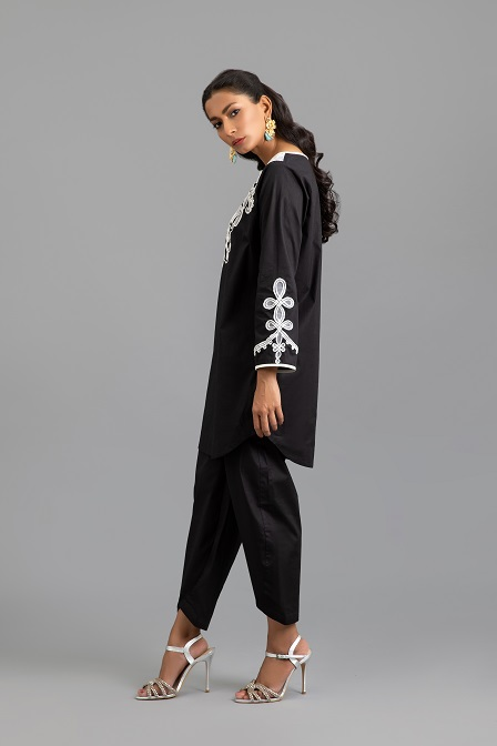 Black Cotton Tunic with Ribbon Embroidery and Trouser
