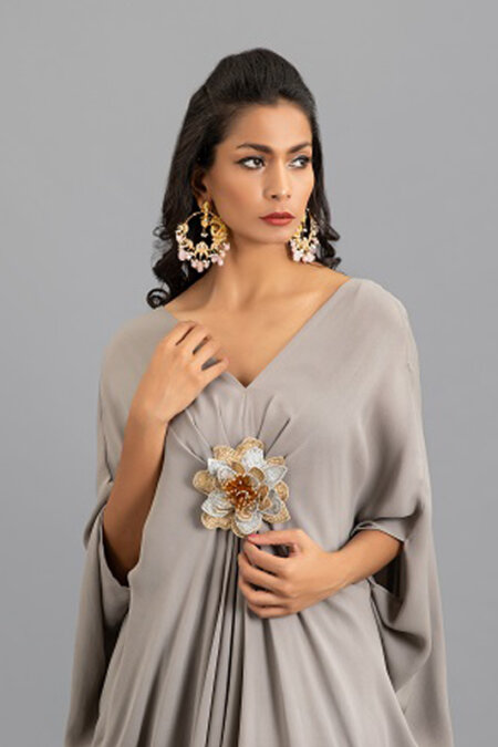 Draped Top with Crystal Flower Brooch and Flared Pants