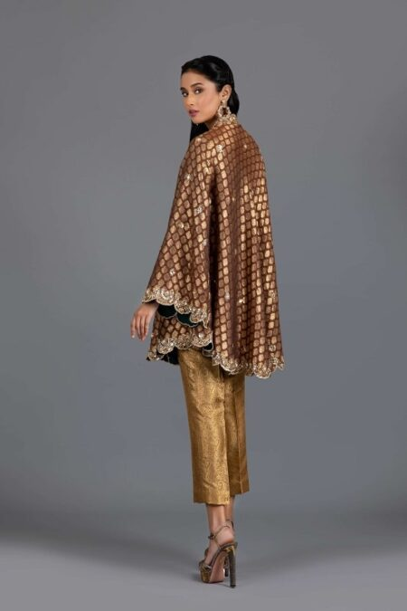 Rust Embellished Bias Cut Tunic with Cropped Pants