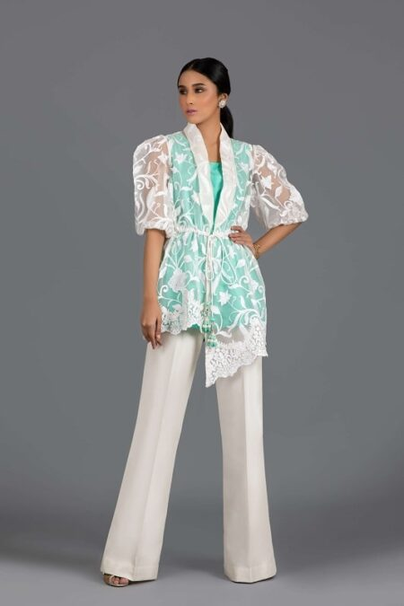Floral Embroidered Organza Wrap with Slip and Trouser