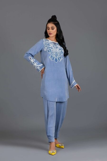 Chambray Cotton Tunic with Ribbon Embroidery and Pleated Shalwar