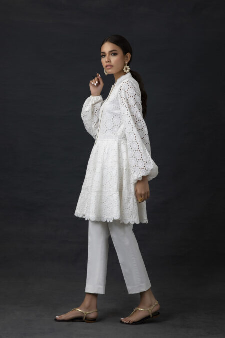 White Chicken Peplum Cut Front Open Tunic with Cropped Trousers