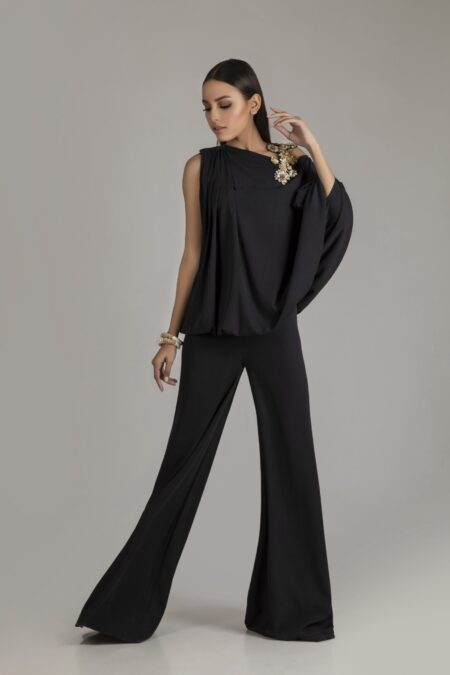 Black Baggy Style Jumpsuit with Crystal Embellished Motif
