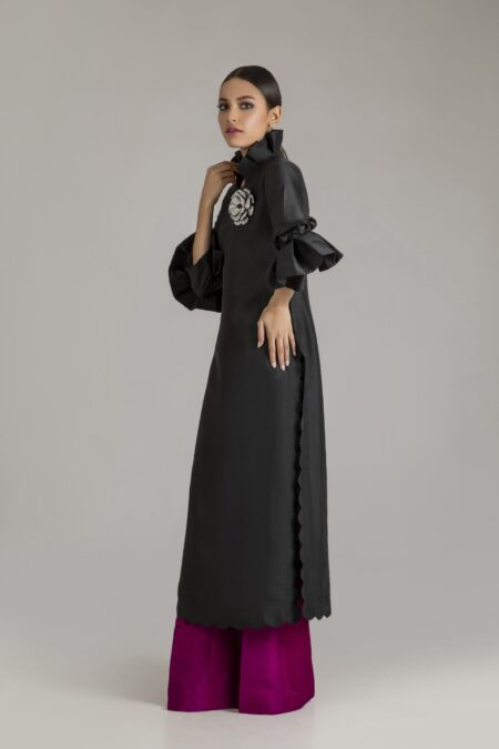 Long Raw silk Tunic with Flared Pants