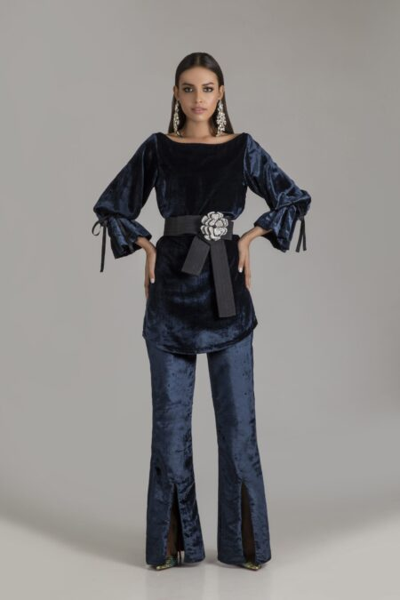 Velvet Charcoal Grey Top with Flared Slit Pants