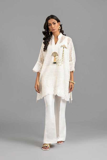 Ivory Organza Box Tunic with Embellished Laccha Detail